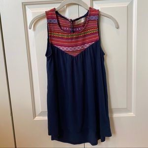 Altar'd State Embroidered Navy Sleeveless Top